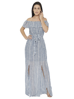 The Striped Bardot Maxi Dress