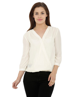 Timeless Overlap Off White Top