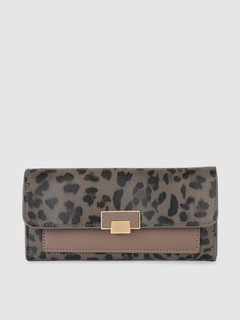 Bags-Wander With Me Grey Leopard Print Wallet
