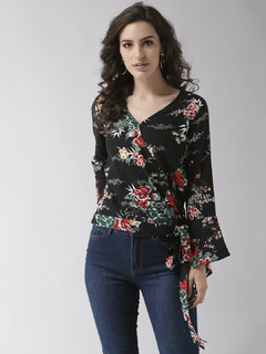 Wrapped In Love Black Floral Top
