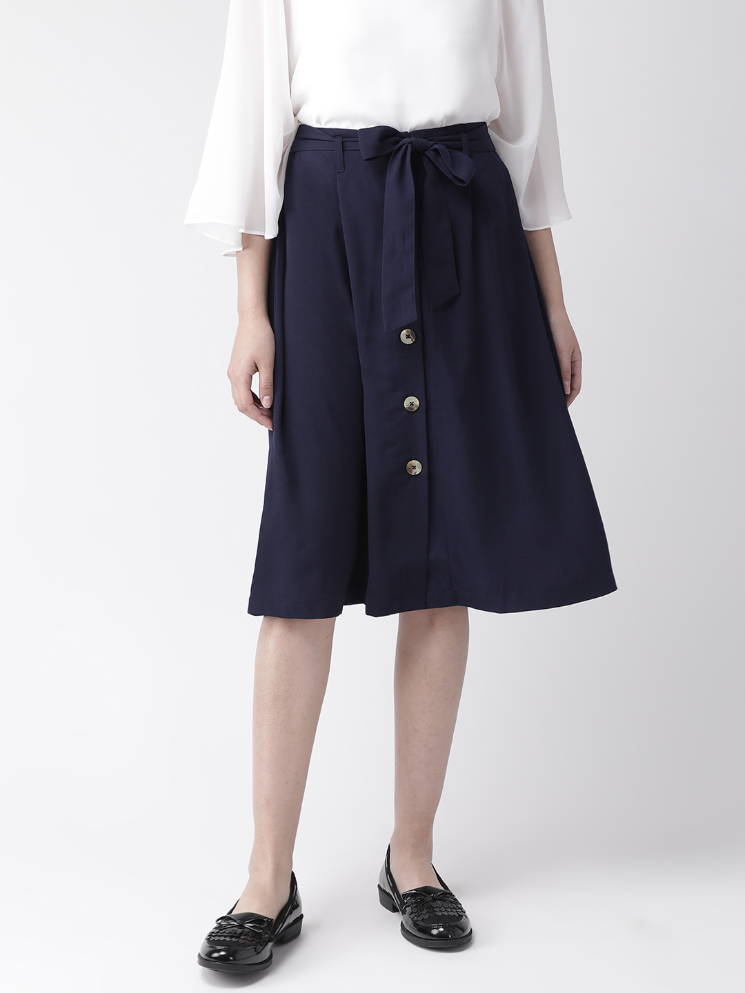 Shorts and Skirts-Navy Blue The Sweet Spot Button Down Skirt1