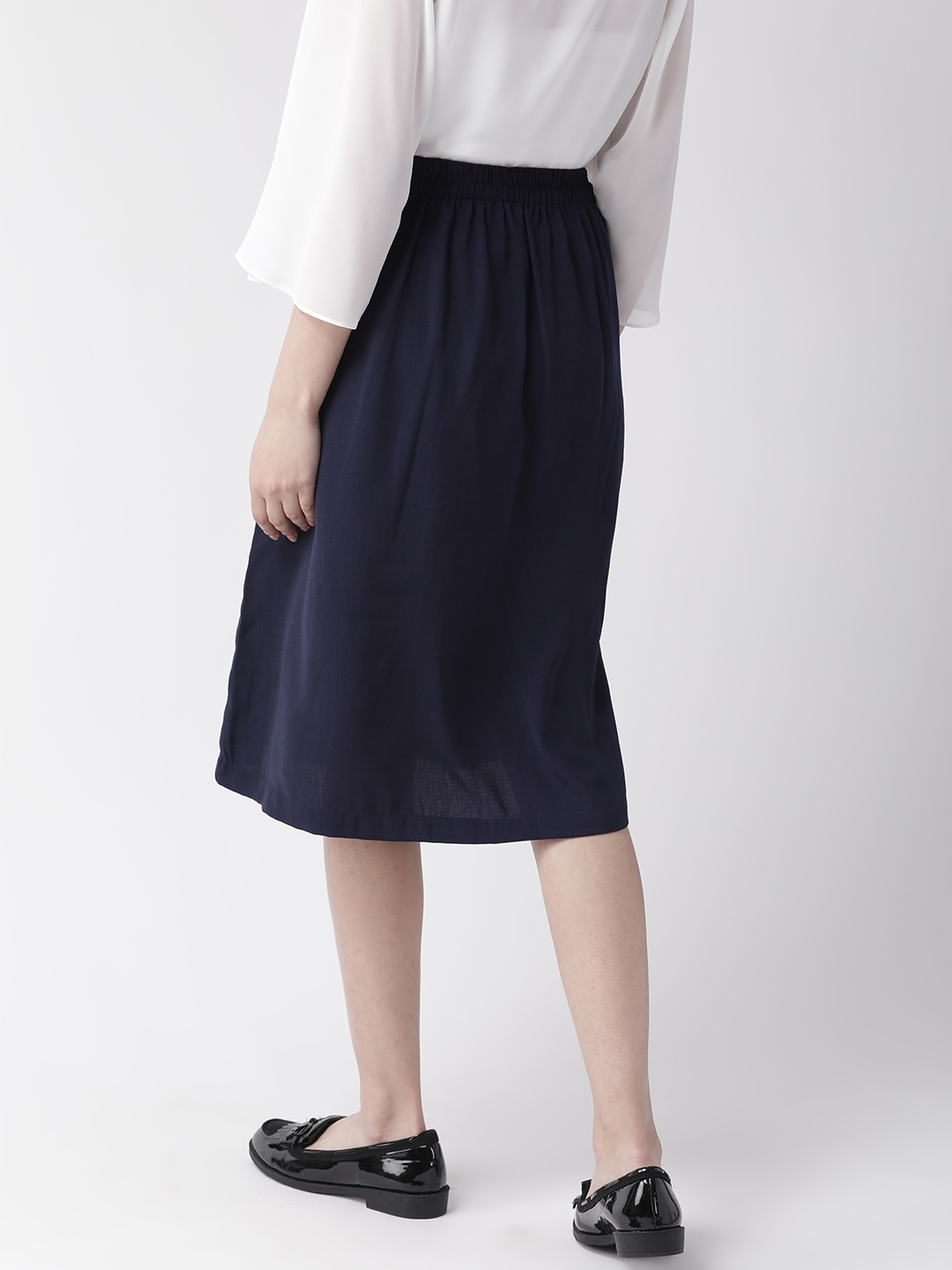 Shorts and Skirts-Navy Blue The Sweet Spot Button Down Skirt2