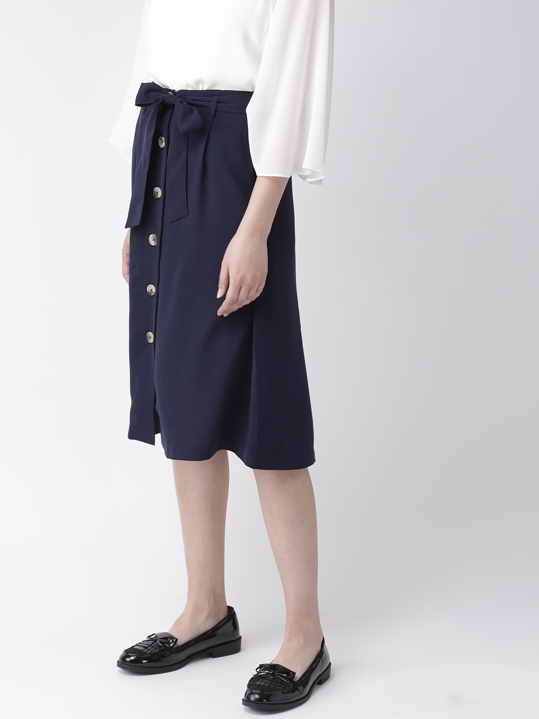 Shorts and Skirts-Navy Blue The Sweet Spot Button Down Skirt4