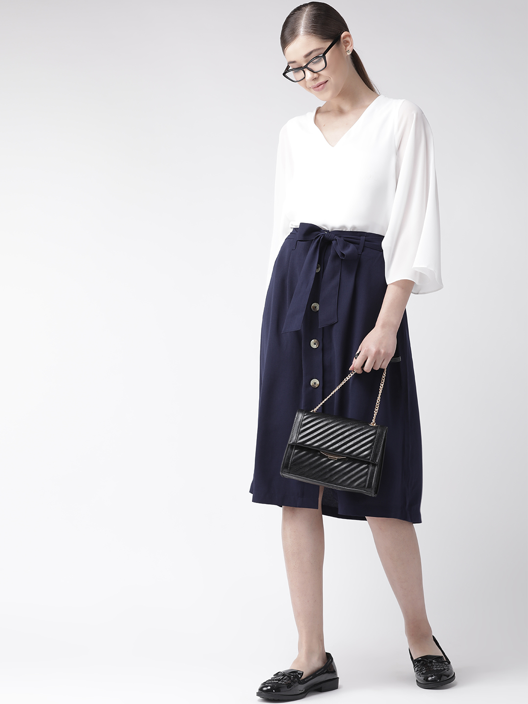 Shorts and Skirts-Navy Blue The Sweet Spot Button Down Skirt5