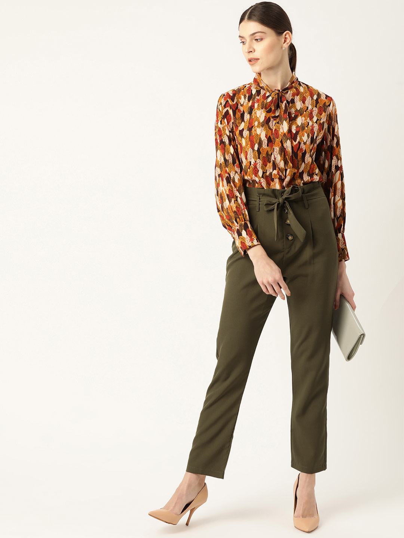 Pants and Palazzos-Green Chill Like A Paper Bag Pant4