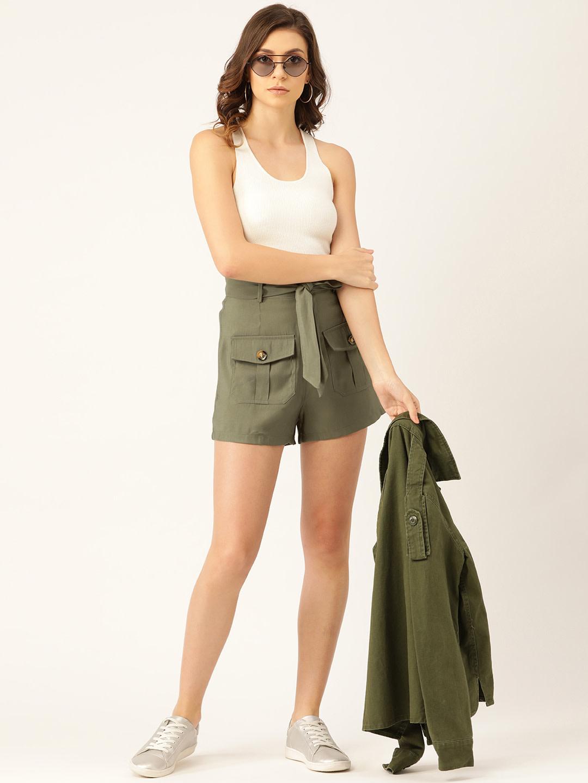 Shorts and Skirts-Olive Green Safari Bug Shorts4