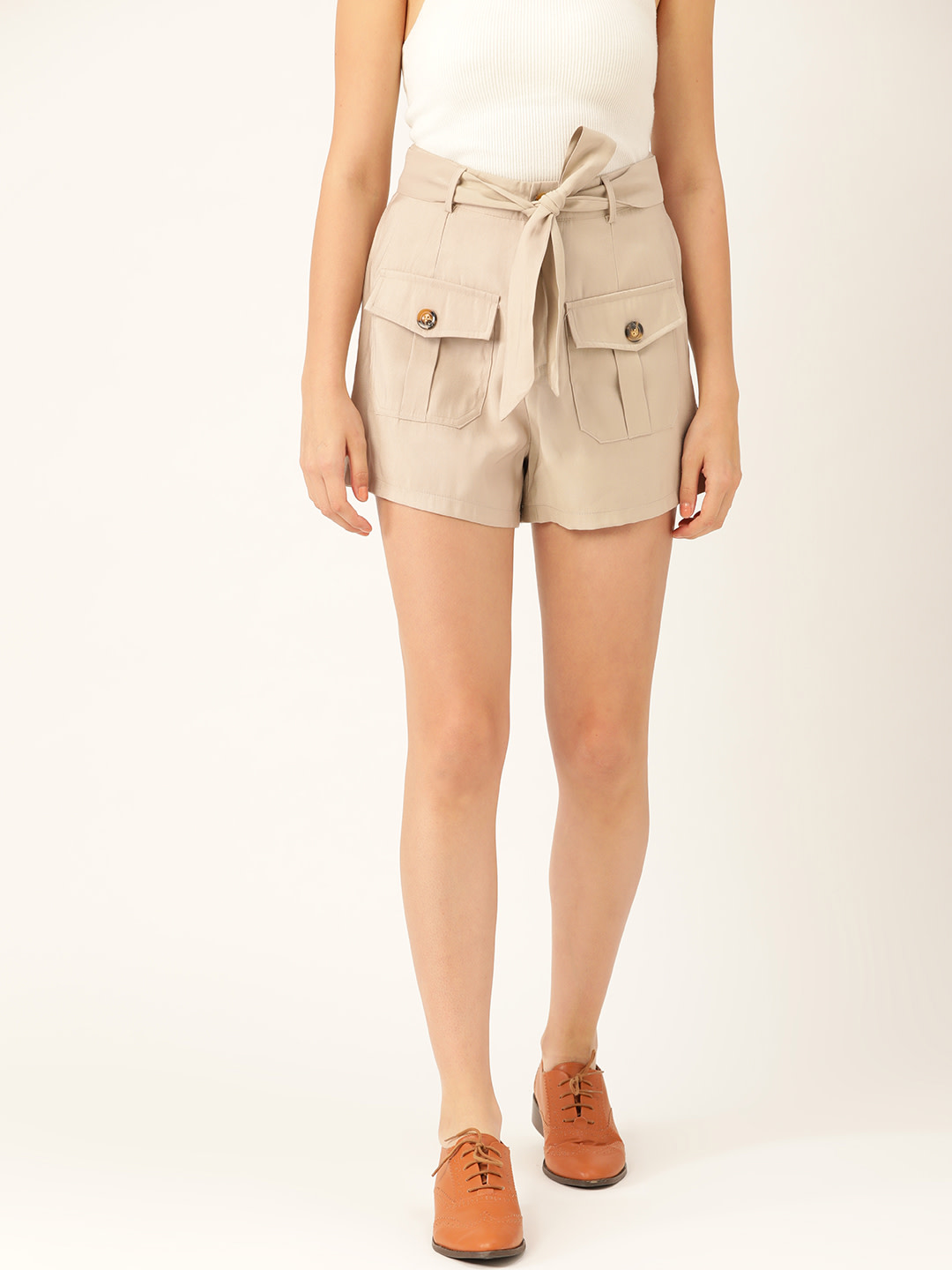 Shorts and Skirts-Beige Safari Bug Shorts1