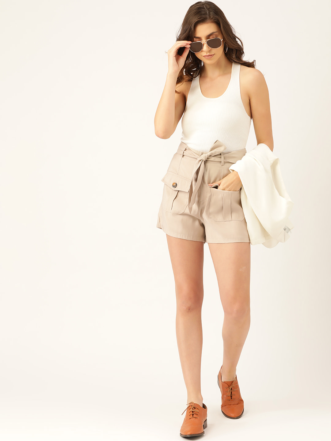 Shorts and Skirts-Beige Safari Bug Shorts4