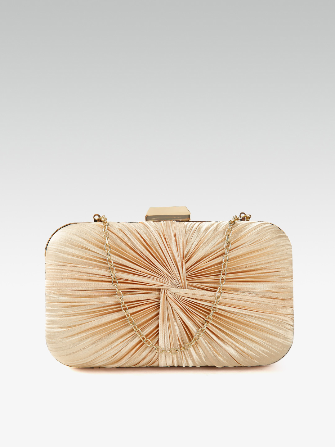 Clutches-Beaming In Drape Gold Clutch1
