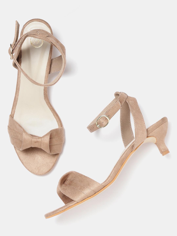 Heels and Wedges-Beige Here I Bow Kitten Heels2