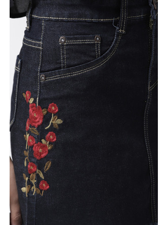 Shorts and Skirts-Blooming Roses Embroidered Skirt5