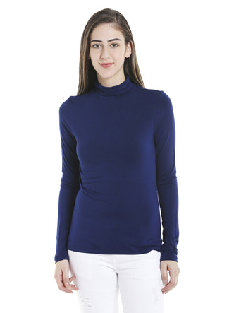 Tops-Blue Keep Me Warm Turtleneck Top1