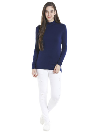 Tops-Blue Keep Me Warm Turtleneck Top2