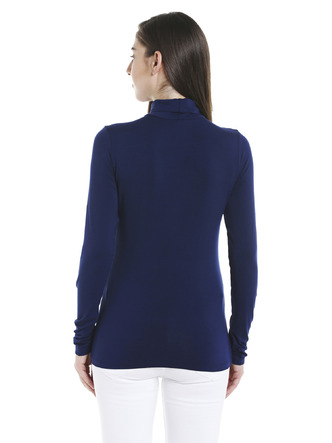 Tops-Blue Keep Me Warm Turtleneck Top3