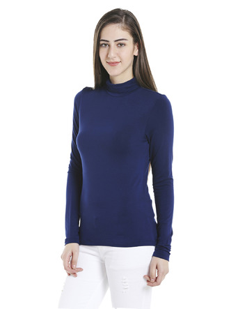 Tops-Blue Keep Me Warm Turtleneck Top5