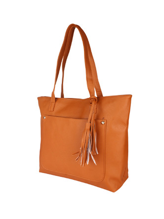 Hand Bags-Brown Pocket The Tassel Handbag1