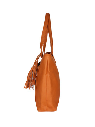 Hand Bags-Brown Pocket The Tassel Handbag2
