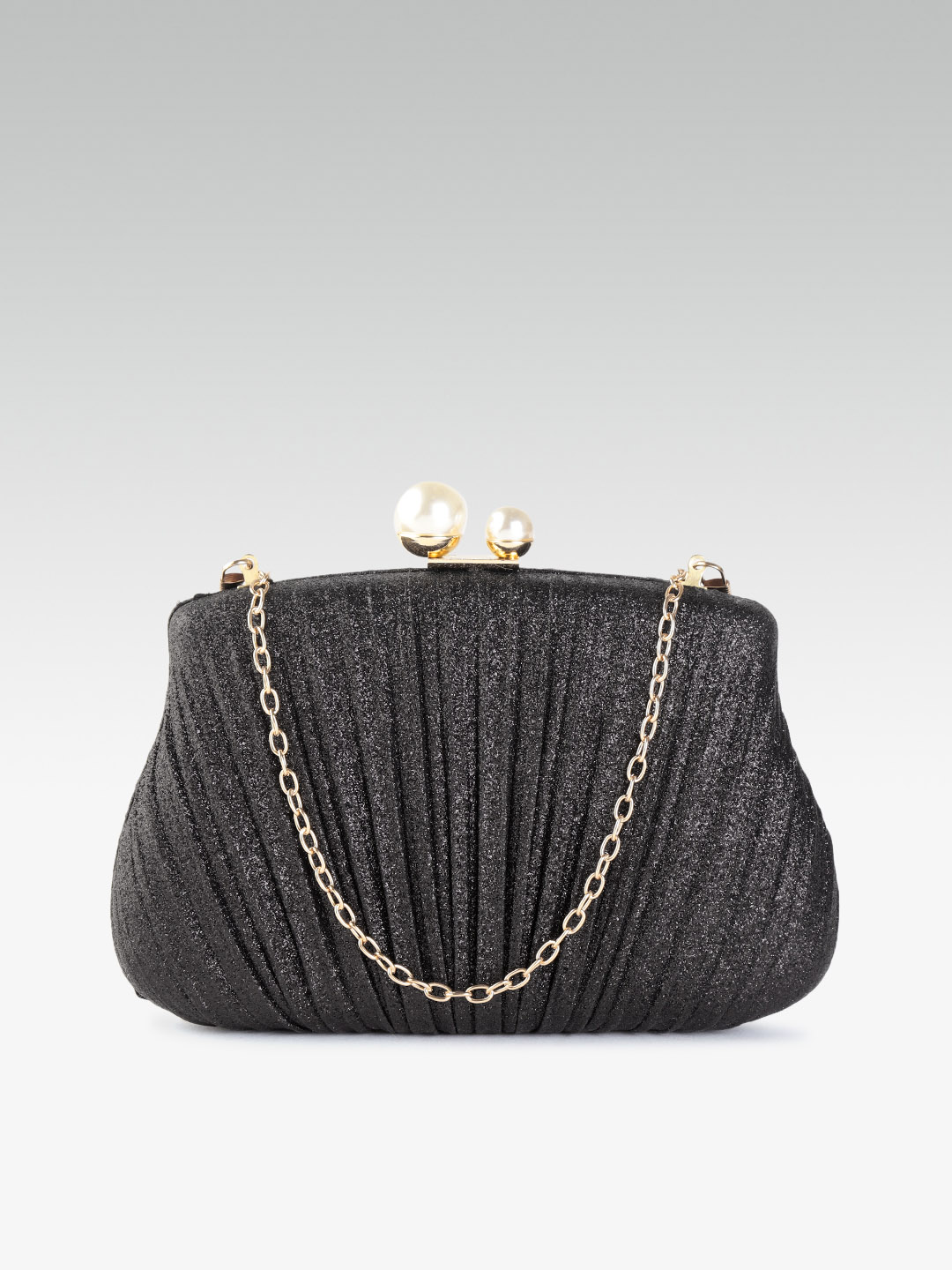 Clutches-Pleated With Grace Black Clutch1