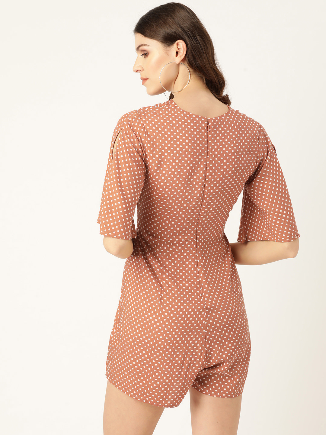 Jumpsuits-Polka On My Mind Peach Playsuit3