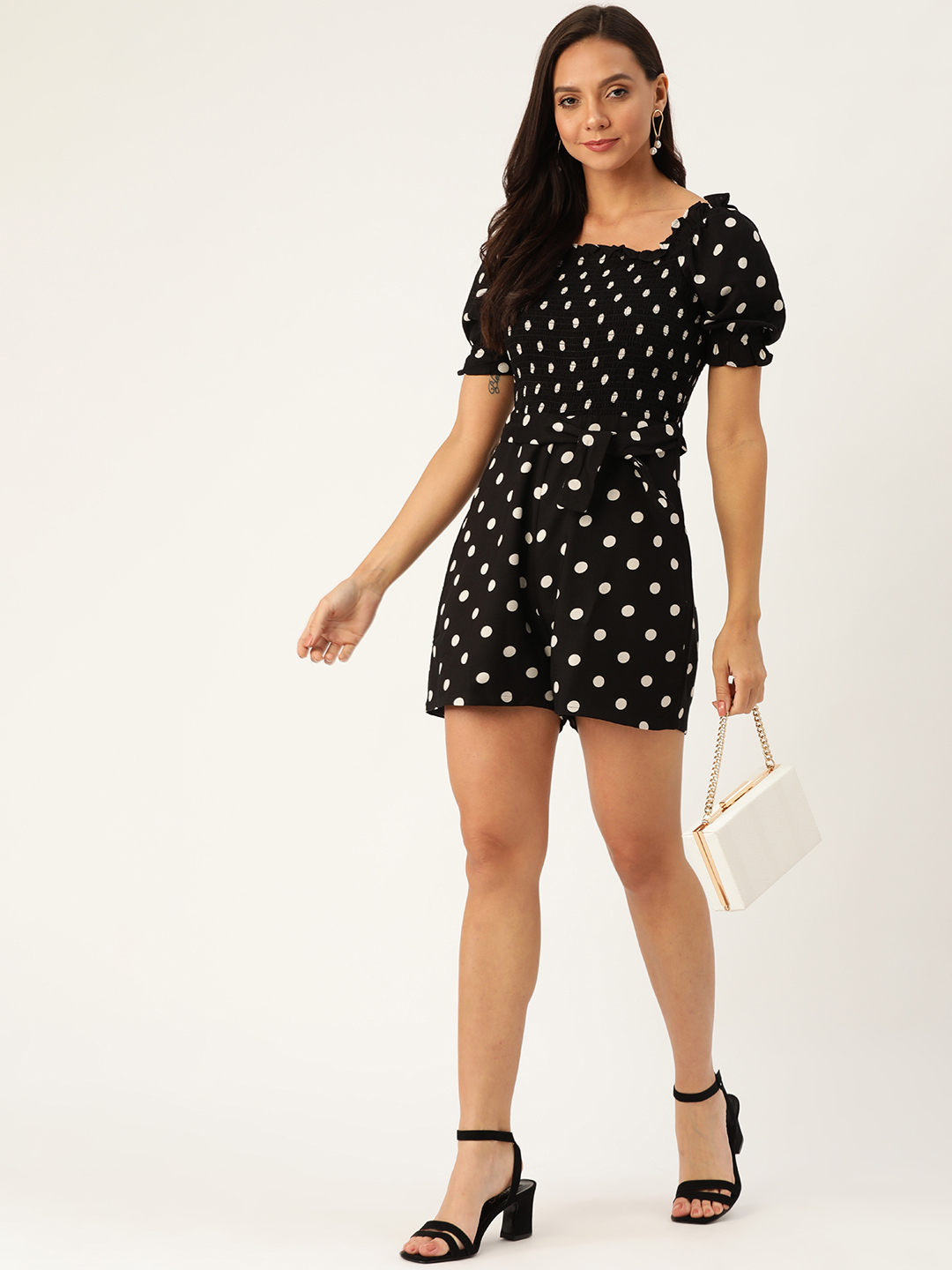 Jumpsuits-Circles Of Love Black Playsuit2