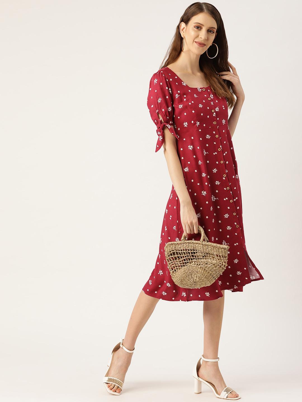 Dresses-Hello Floral Maroon Midi Dress4