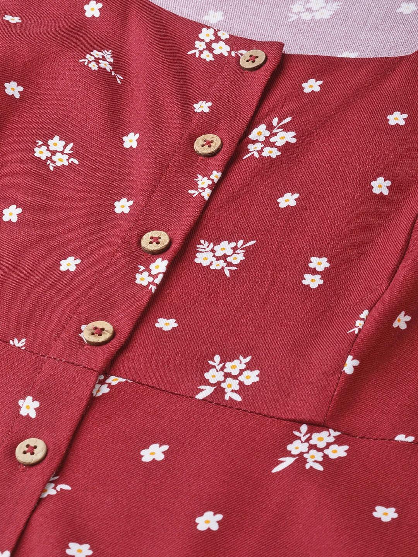 Dresses-Hello Floral Maroon Midi Dress5