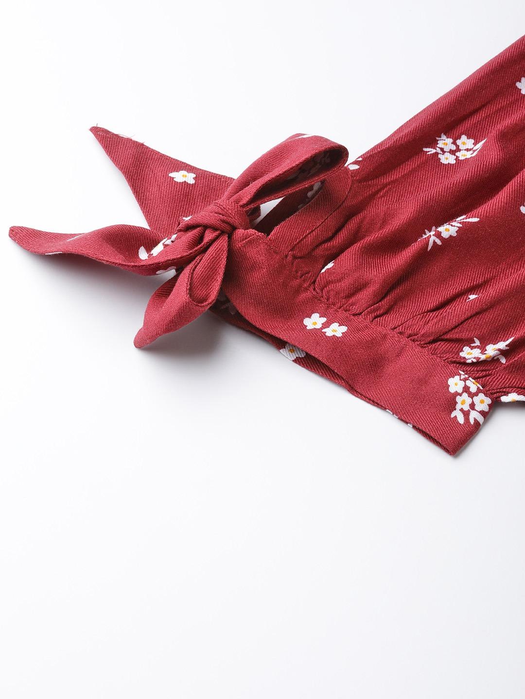 Dresses-Hello Floral Maroon Midi Dress6