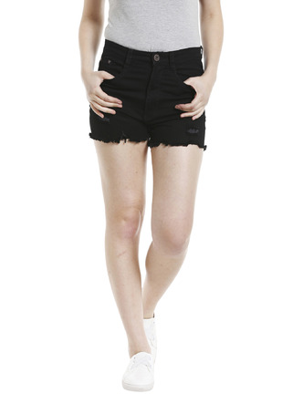 Shorts and Skirts-Darkened In Distress Shorts1