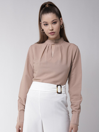 Tops-Dress The Part Formal Beige Top1