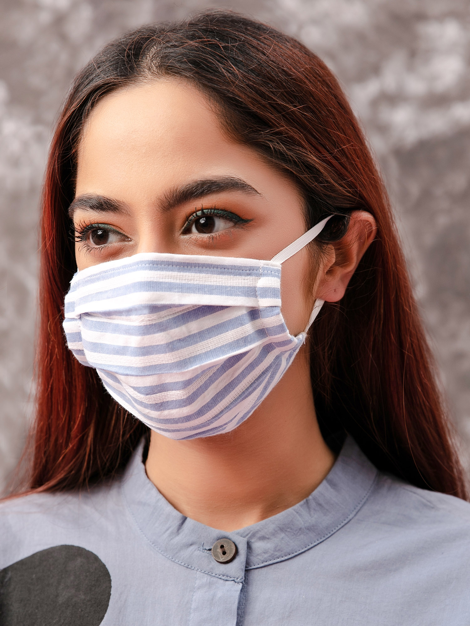Face Mask-Blue Striped Yarn Dyed Reusable Face Mask Pack4