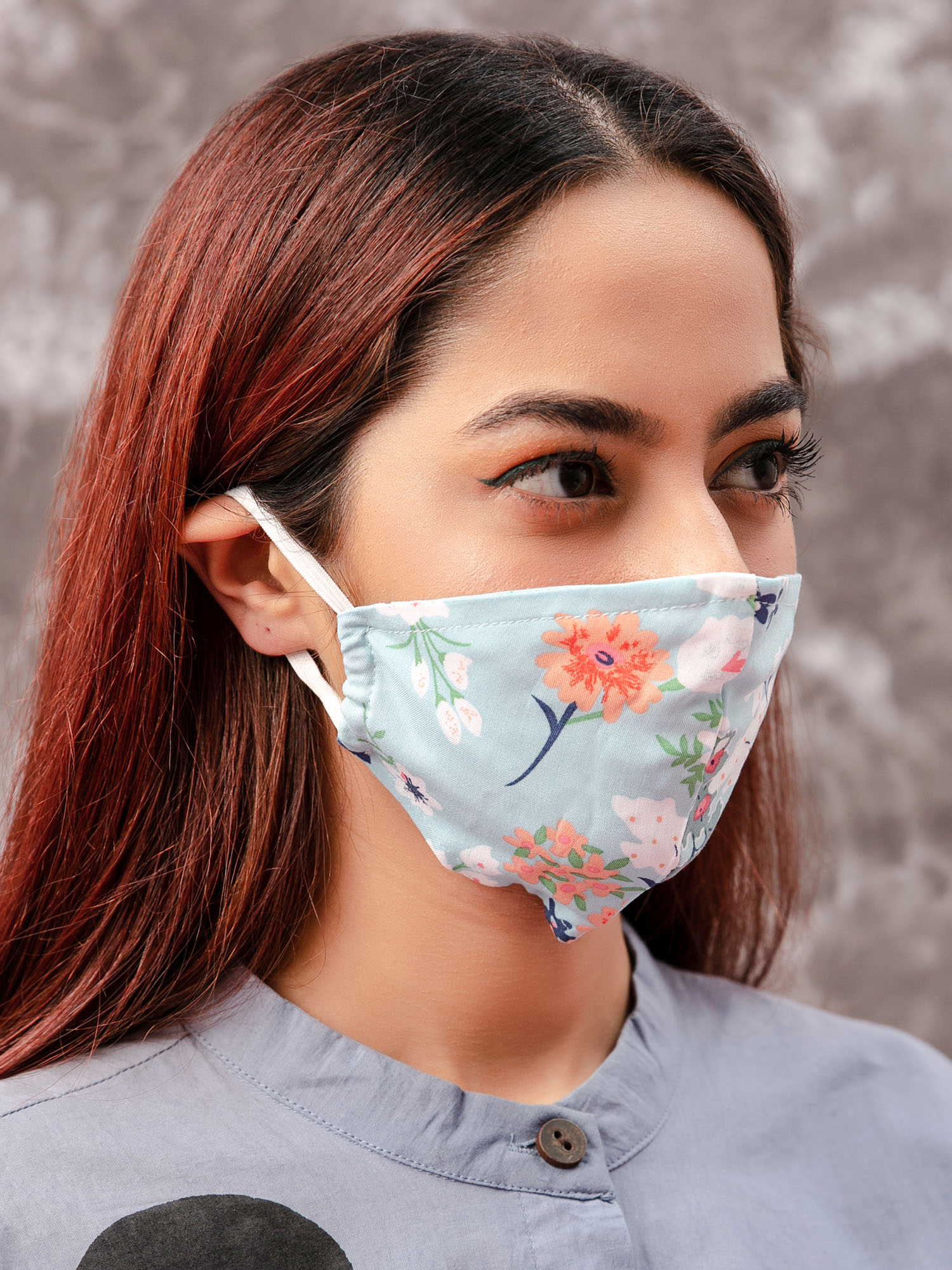 Face Mask-Blue Blooms Printed Reusable Face Mask Pack3