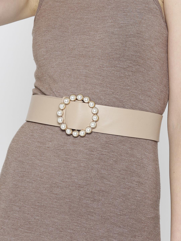 Belts-For The Love Of Pearls Beige Belt1
