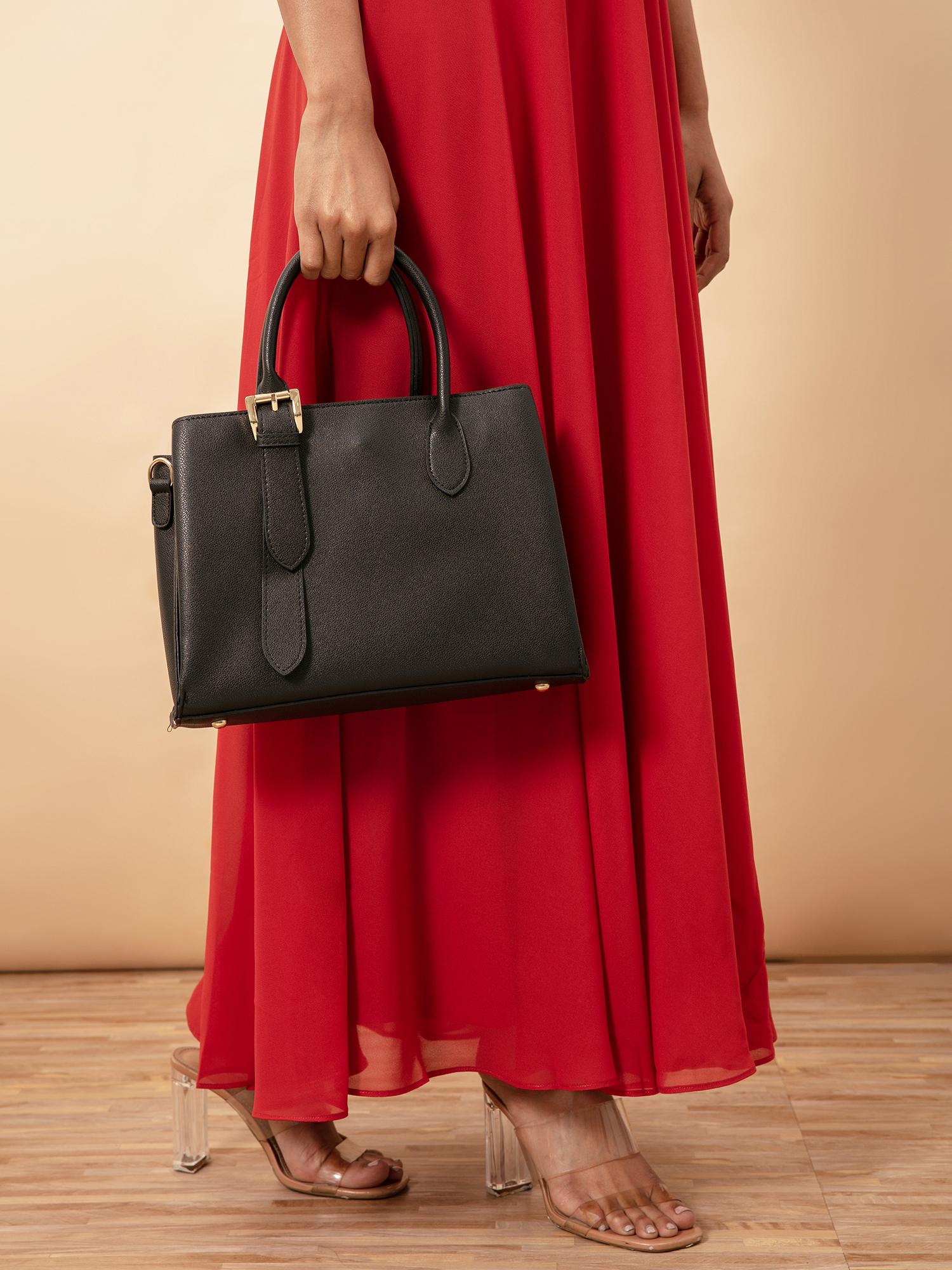 Hand Bags-Black Buckle You Down Handbag1