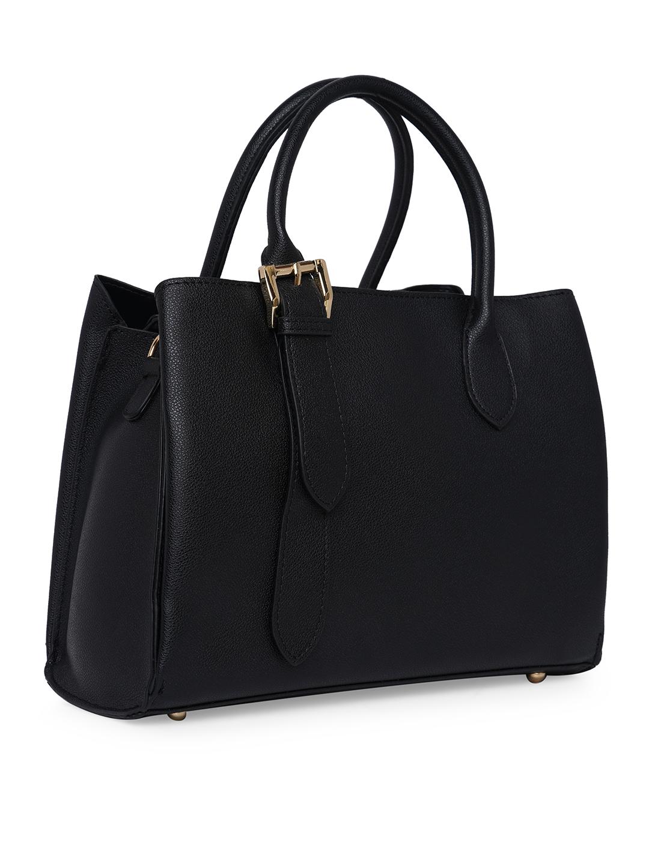 Hand Bags-Black Buckle You Down Handbag5