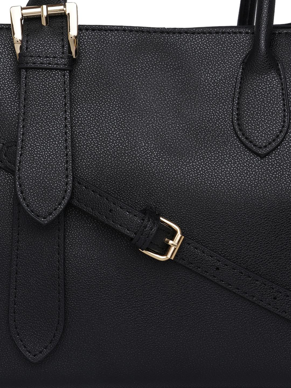 Hand Bags-Black Buckle You Down Handbag7