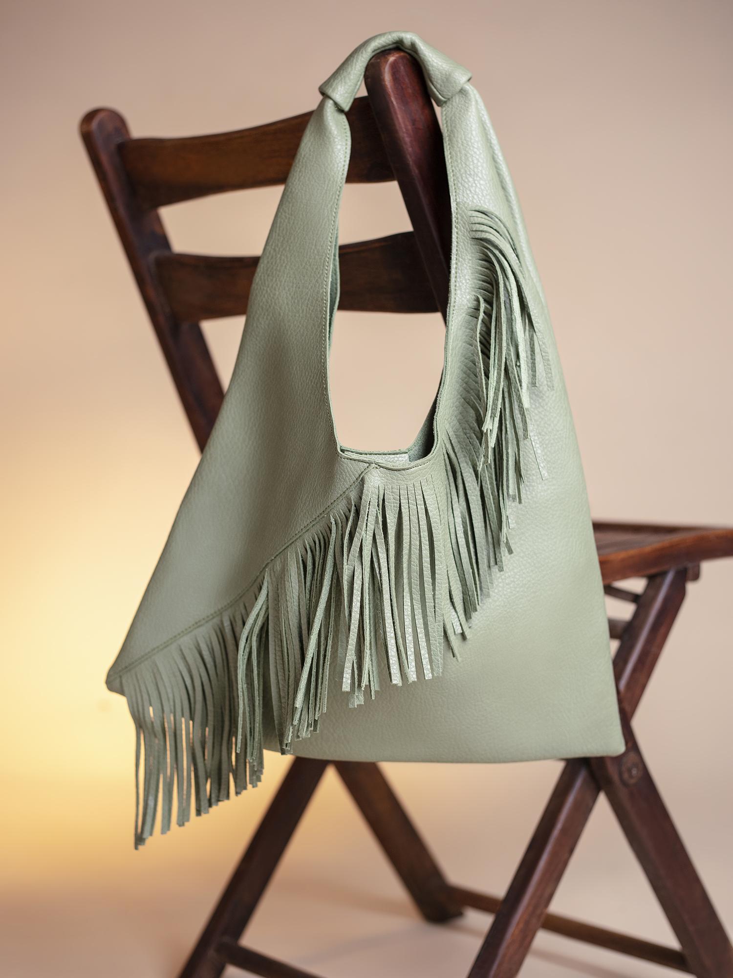 Hand Bags-Green On The Fringe Line Bag1