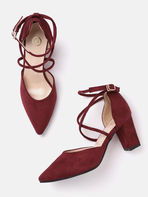 Heels and Wedges-Maroon Keep Them Crossed Heels2