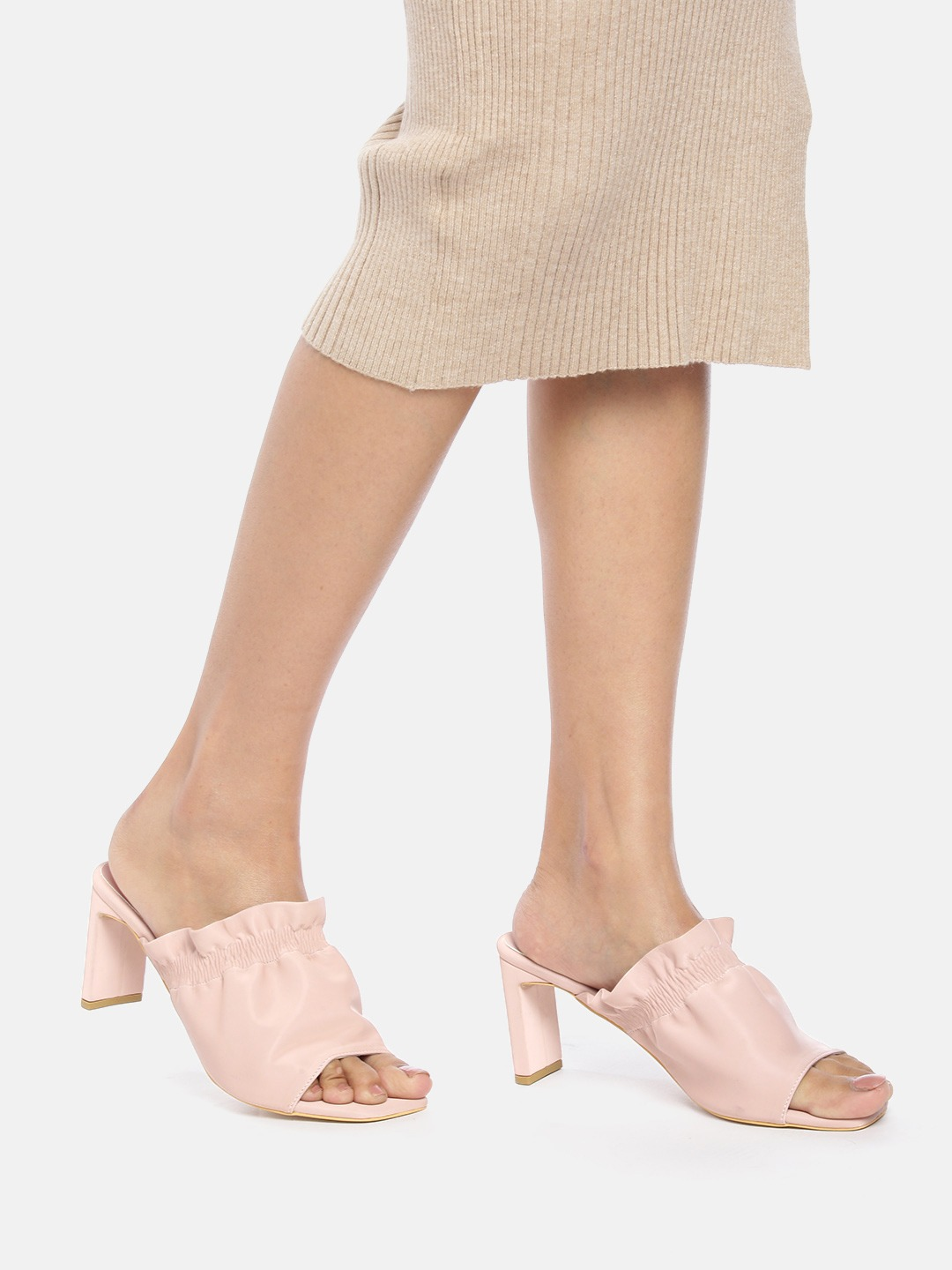 Heels and Wedges-The Prettiest Ruched Mule Heels8