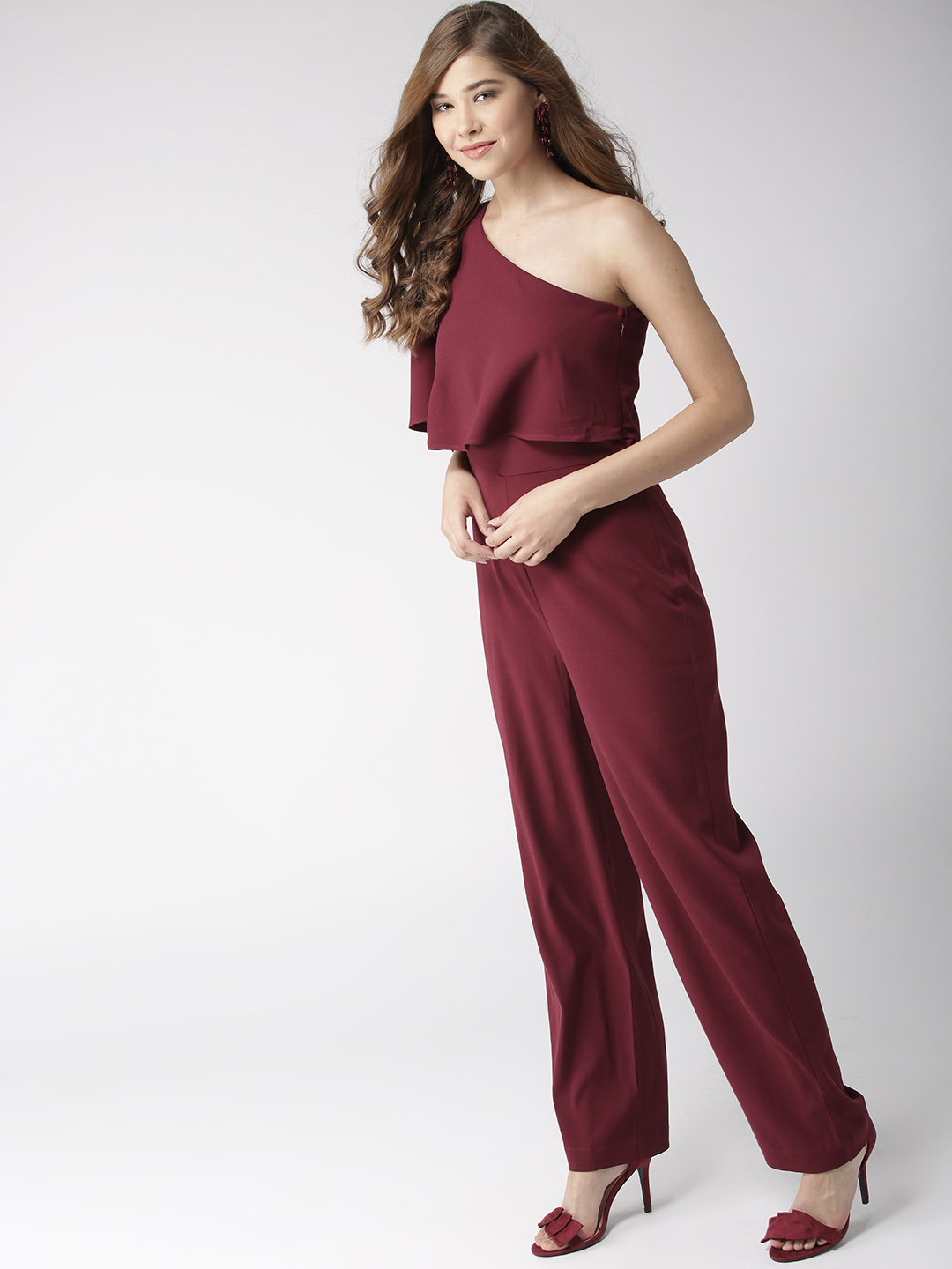 Jumpsuits-Layered In Style Maroon Jumpsuit3