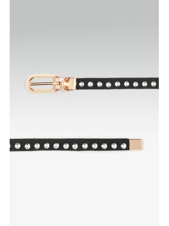 Belts-Lets Get Studded Slim Black Belt4