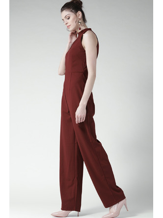 Jumpsuits-Maroon Cutting Up The Choker Jumpsuit6