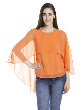 Tops-Orange Fly Away Cape Top1