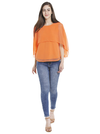Tops-Orange Fly Away Cape Top2