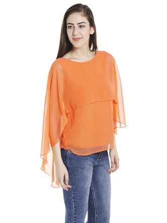 Tops-Orange Fly Away Cape Top4