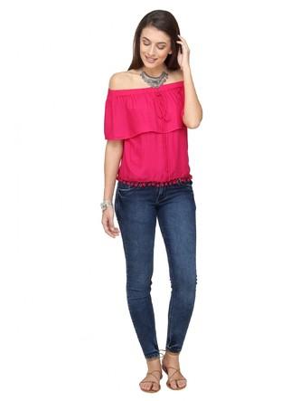 Tops-Pink The Blushing Bardot Top 2