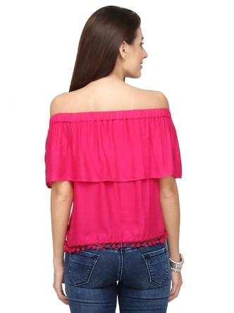 Tops-Pink The Blushing Bardot Top 3