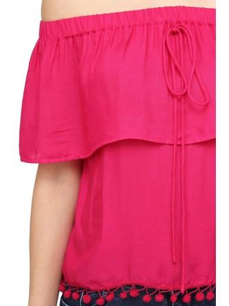 Tops-Pink The Blushing Bardot Top 1