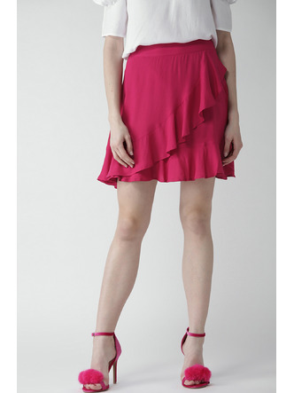 Shorts and Skirts-Pink Twirl In Ruffles Skirt1