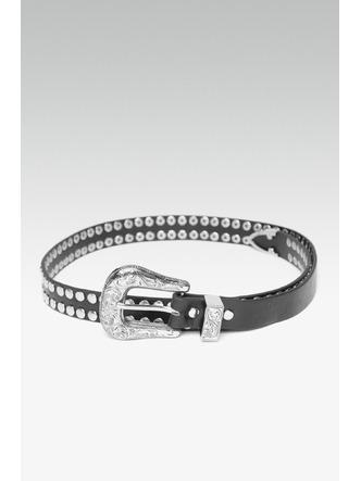 Belts-Power Of Studs Black Buckle Belt1