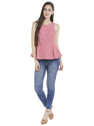 Tops-Red Check Me Out Peplum Top4